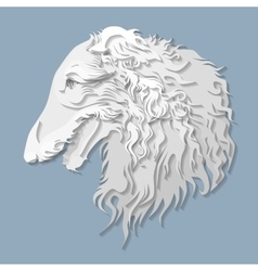 Side portrait of russian borzoi in paper cut style vector