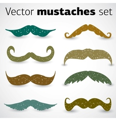 A stylish retro mustaches set vector image vector image