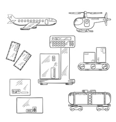 Air and rail delivery service icons vector