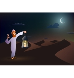 Arabic man keeps lantern vector