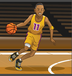 Basketball player on action vector