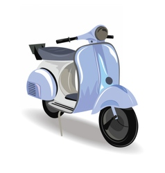 Blue motor scooter with flowers vector