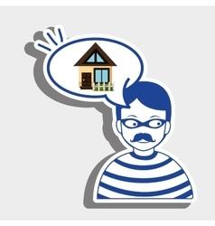 Burglar criminal house icon vector