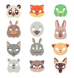 Carnival animals face masks in flat style vector