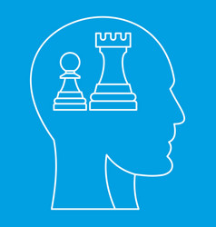 Chess inside human head icon outline style vector