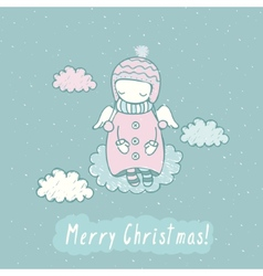 Christmas card with angel in sky vector image vector image