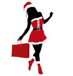christmas girl silhouette vector image vector image