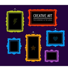 colorful set of rectangular frames on pur vector image vector image