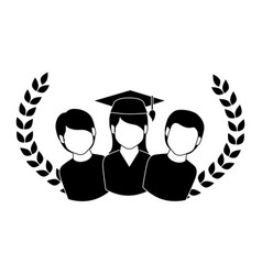 Crown leaves with group people graduated vector