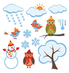 Cute Winter Set vector image vector image