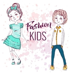 Fashion style kids vector
