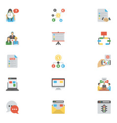 Flat icons pack of project management vector