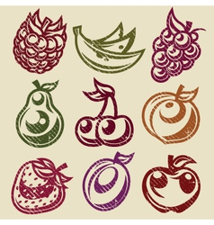 Grunge fruits and berry stamps icons vector