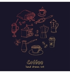 Hand drawn coffee set ingredients and vector image vector image