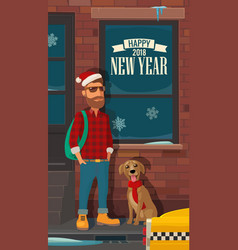 hipster santa claus dog and taxi on street flat vector image vector image