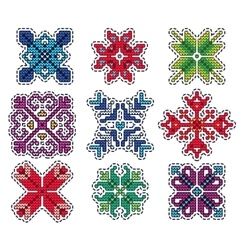 Knitted christmas patch vector