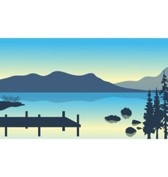 Lake and pier scenery vector