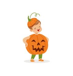 little boy dressed as a pumpkin cute kid in vector image vector image