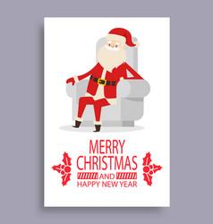 merry christmas cover santa vector image