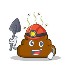Miner poop emoticon character cartoon vector