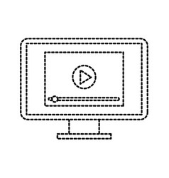 player button on screen computer digital vector image
