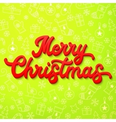 Red 3d xmas lettering on green christmas vector
