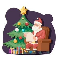 Santa claus read gift list sit armchair character vector