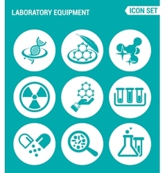 set of round icons white Laboratory equipment vector image vector image