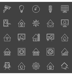 Smart home linear icons vector