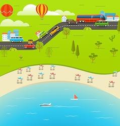 Summer season beach vacation vacation conce vector