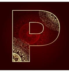 Vintage alphabet with floral swirls letter P vector image