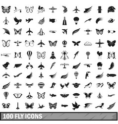 100 fly icons set simple style vector image