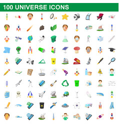 100 universe icons set cartoon style vector