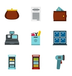 Purchase in shop icons set flat style vector image
