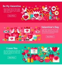 Happy valentine day web banners vector