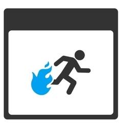 Fire Evacuation Man Calendar Page Toolbar vector image