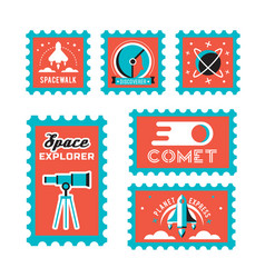 Post stamp with rocket in the space and flat stamp vector