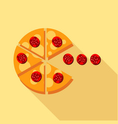 Salami pizza slice icon flat style vector