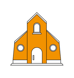 Color silhouette image yellow church building vector