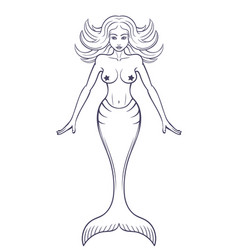 Mermaid outline isolated over white vector