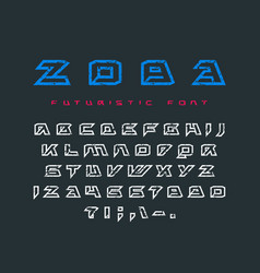 Futuristic contour font with rust texture vector