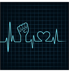 Heartbeat make unity hand and heart stock vector image