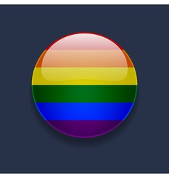 Round icon with rainbow flag vector