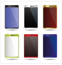 Various color smart phones mock up symbols eps10 vector