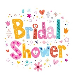 Bridal shower card lettering decorative type vector