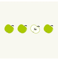 Green apple set in a row whole and half with vector