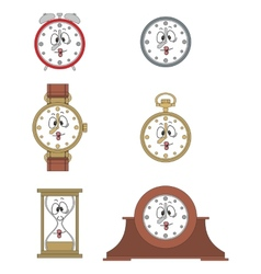 Cartoon funny clock face smiles 03 vector
