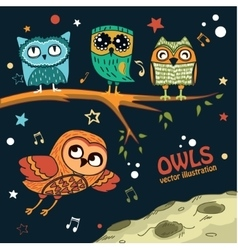 Collection of owls in the night vector