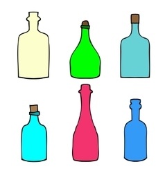 Set of sketch bottles vector