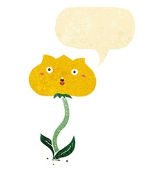 Cartoon shocked flower with speech bubble vector